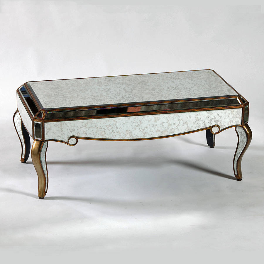 Mirrored Coffee Table | Gold Mirrored Coffee Table | Glass Rectangle Coffee Table
