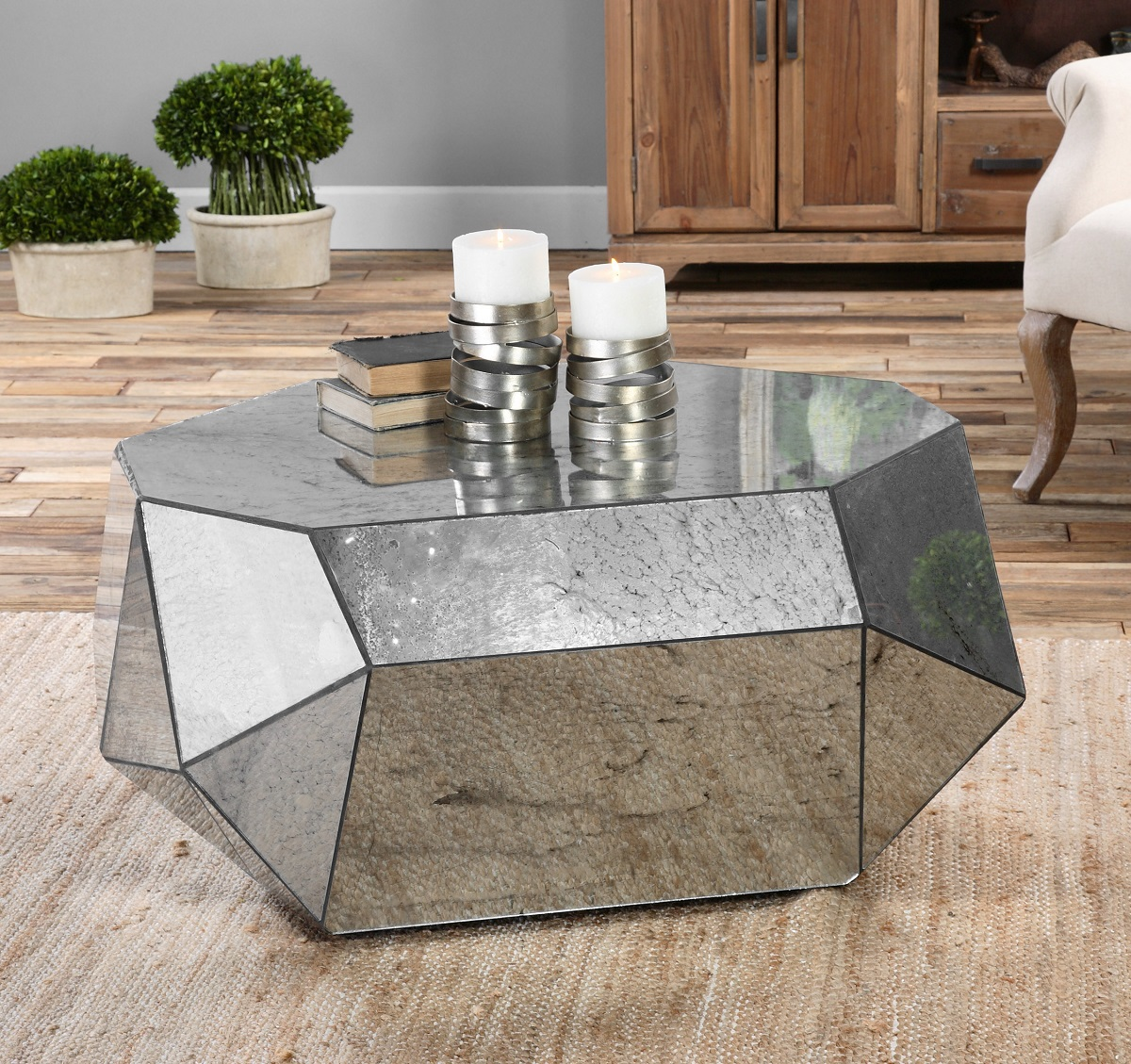 Mirrored Coffee Table | Mirrored Accent Table | Mirrored Foyer Table
