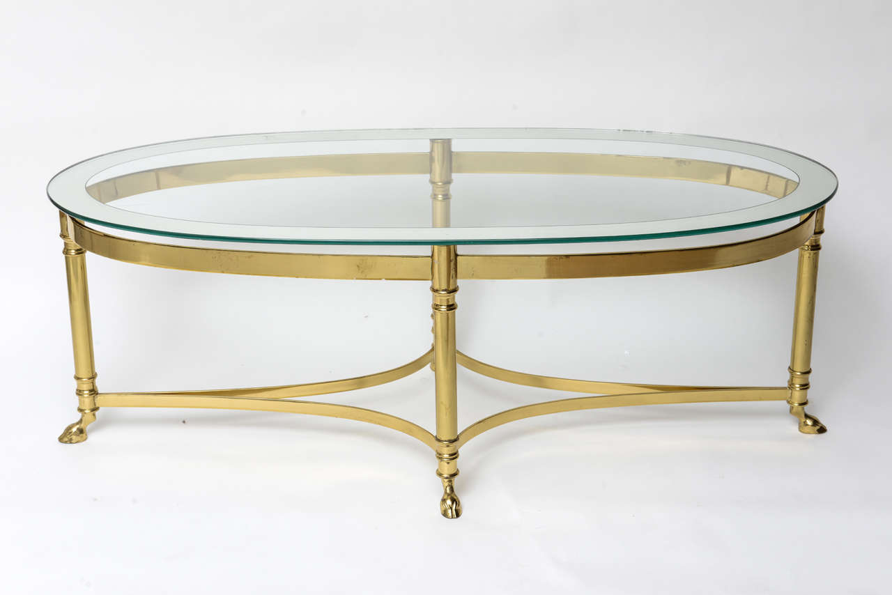 Mirrored Coffee Table | Oval Walnut Coffee Table | Antique Brass Coffee Table