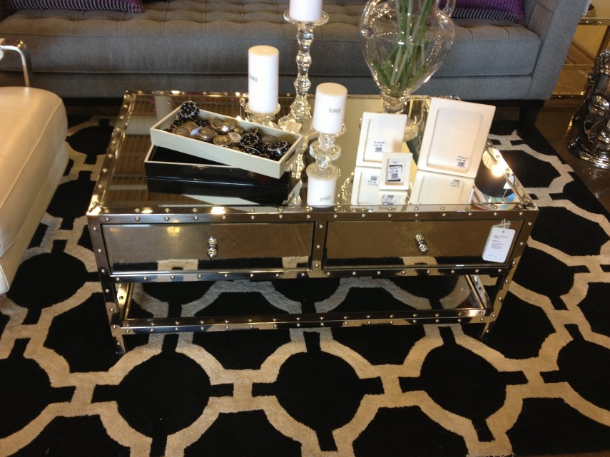 Mirrored Coffee Table | Rectangle Glass Coffee Table | Marble And Brass Coffee Table