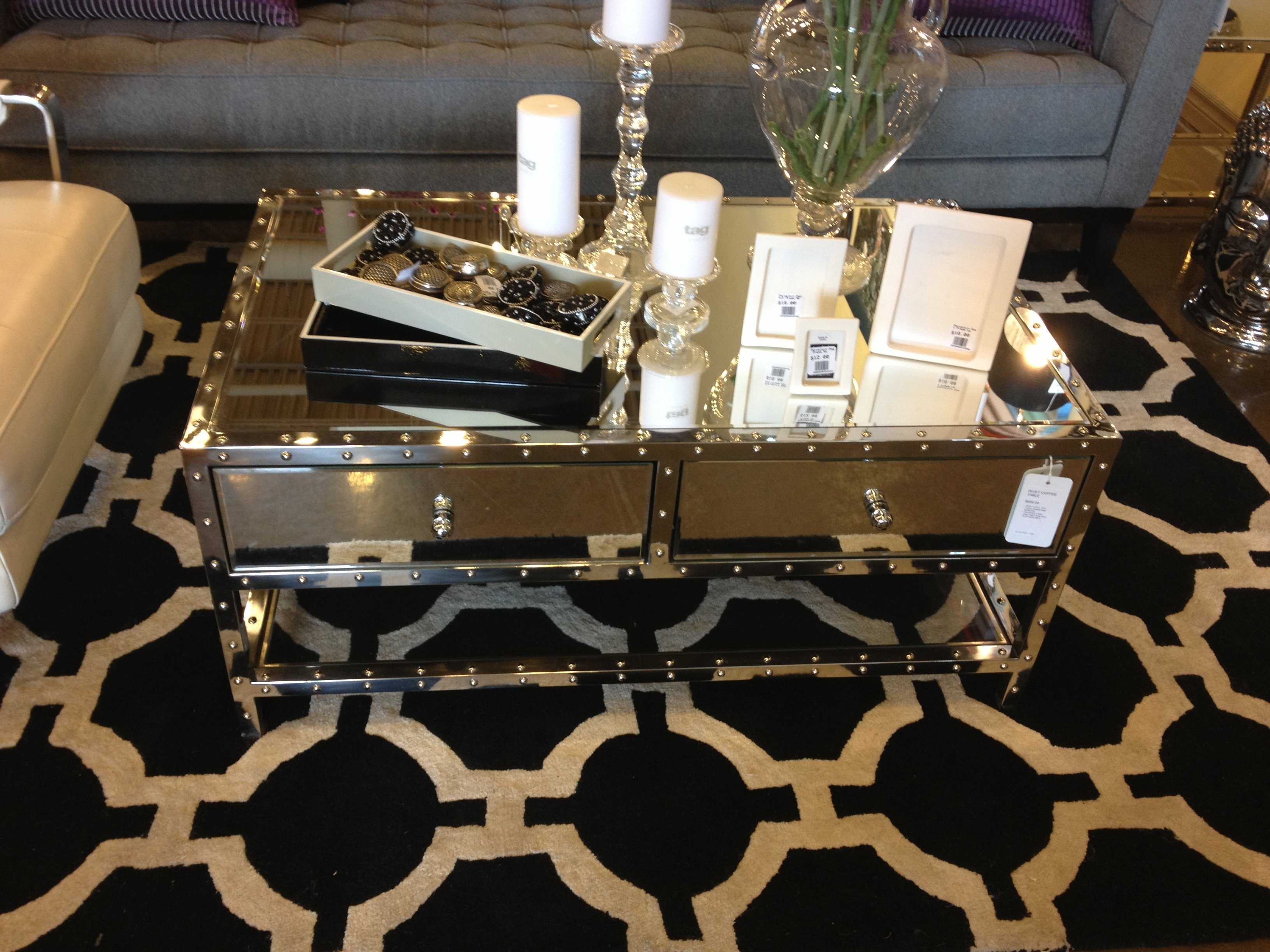 Furniture Mirrored Coffee Table