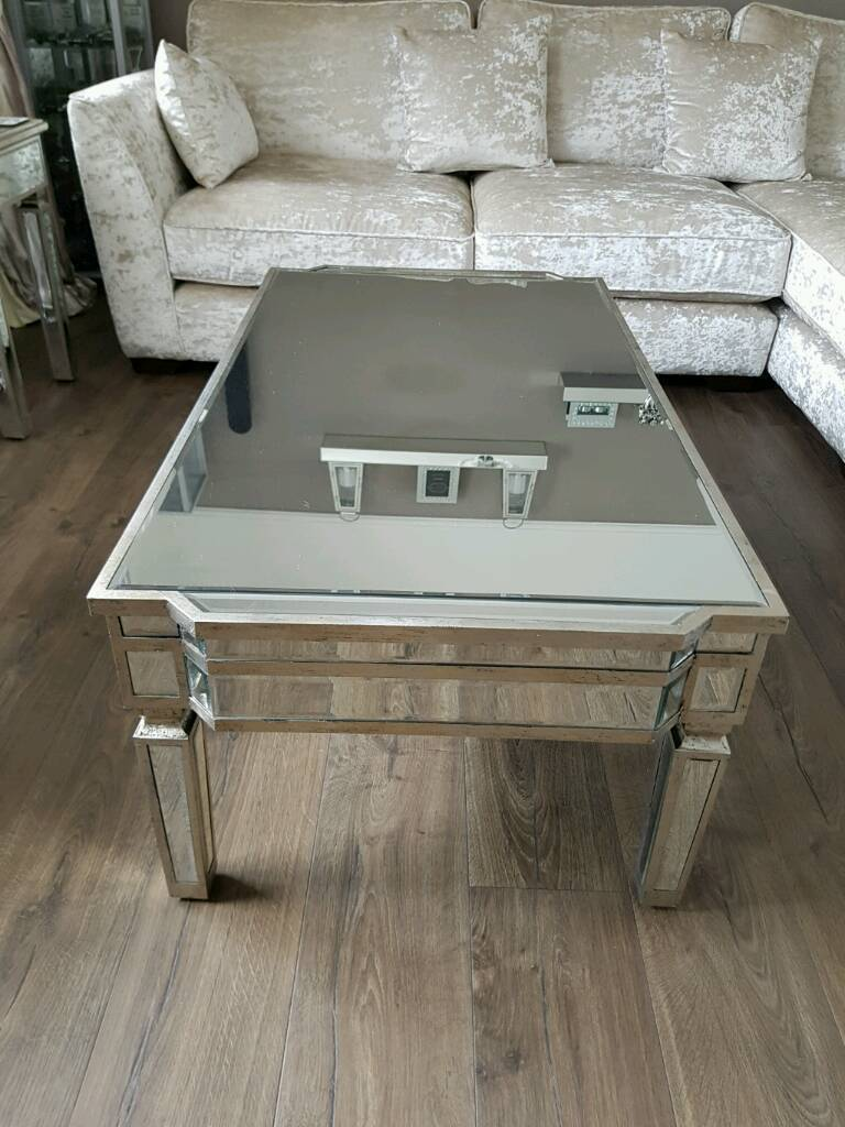 Mirrored Coffee Table | Rectangle Glass Top Coffee Table | Mirror Coffee Tables