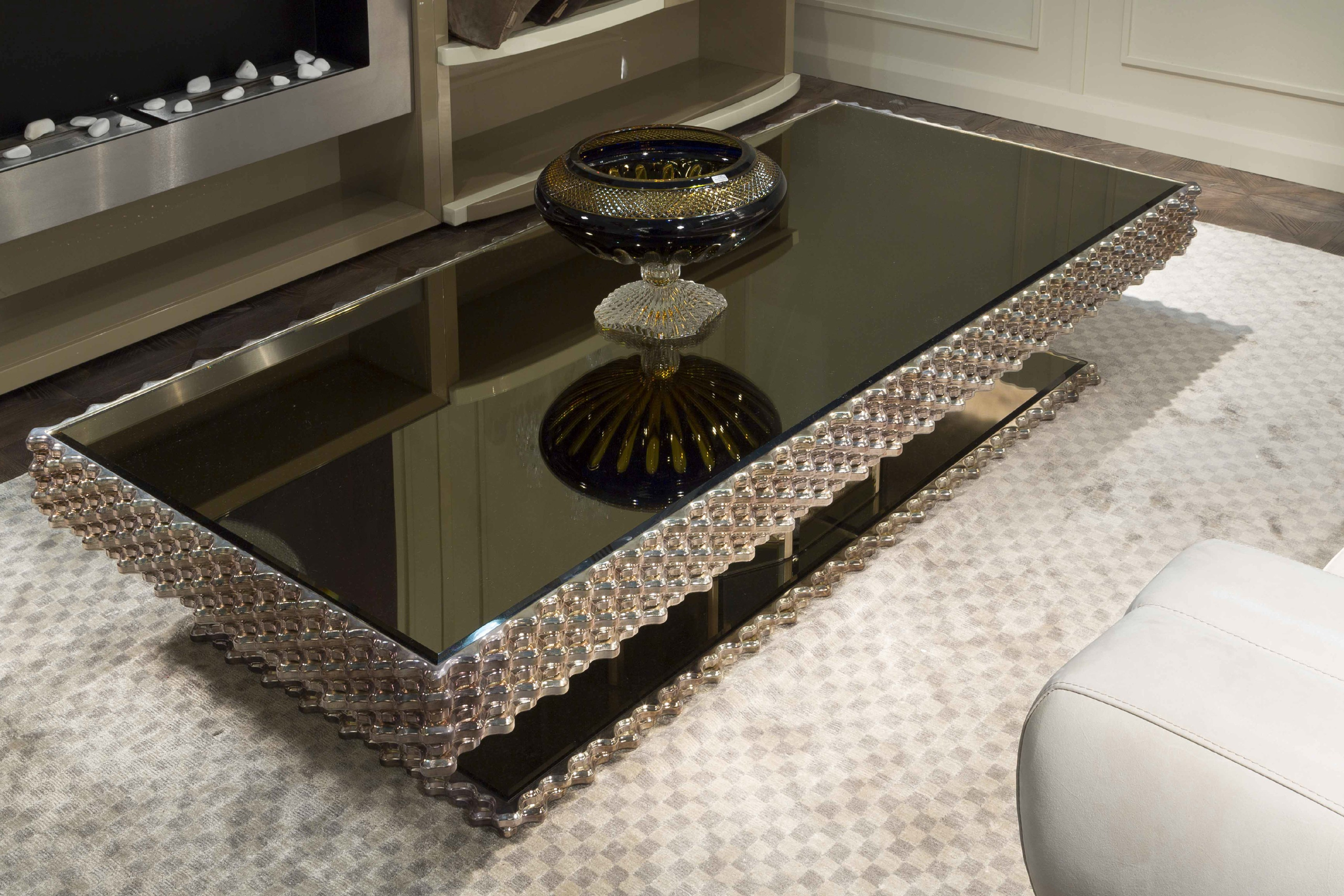 Mirrored Coffee Table | Tiered Coffee Table | Large Rectangular Coffee Table