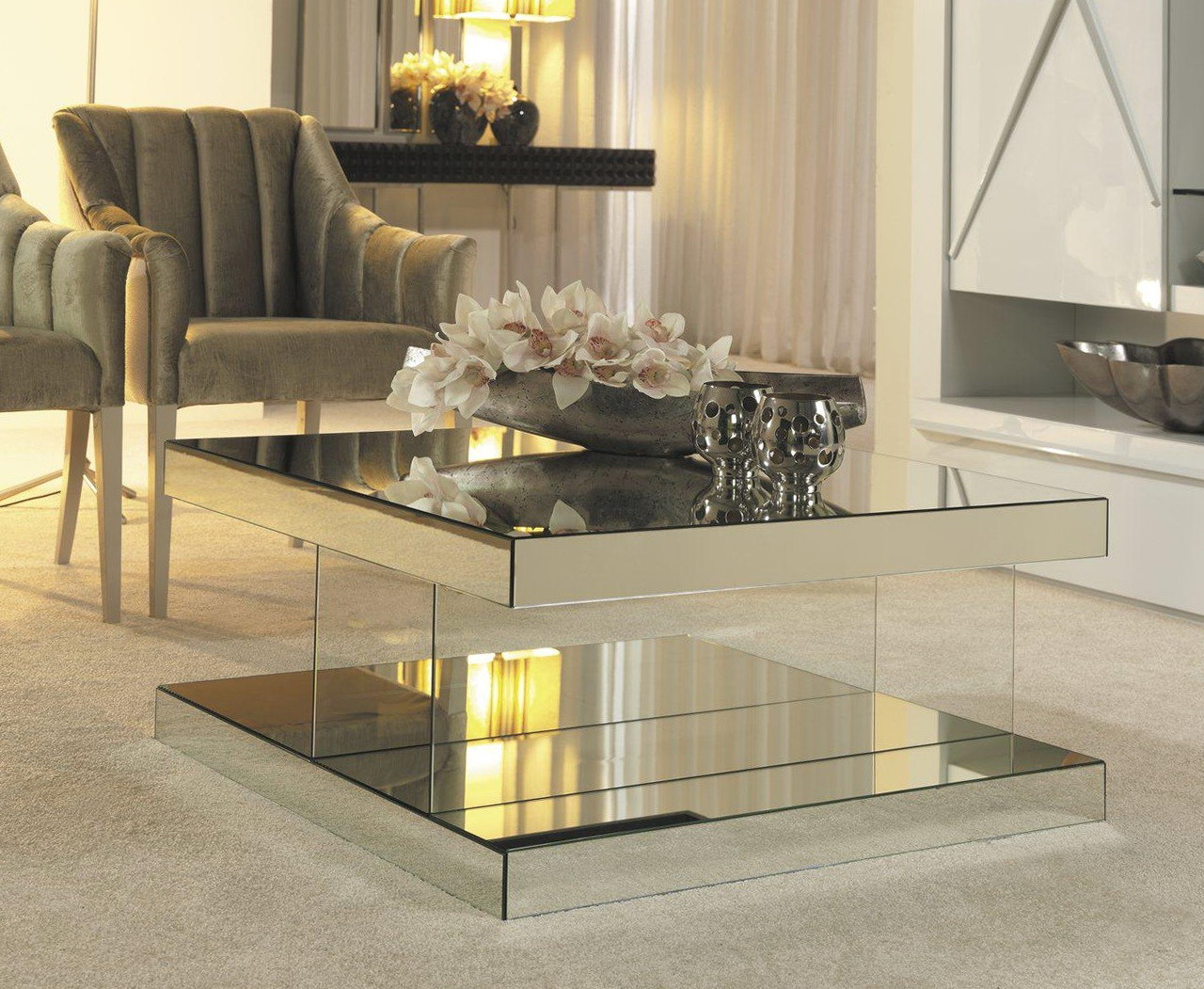 Mirrored Coffee Table Tray | Mirrored Coffee Table | Infinity Mirror Coffee Table