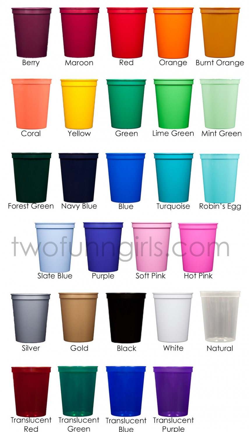 Monogrammed Plastic Cups | Personalized Plastic Cups | Wedding Stadium Cups