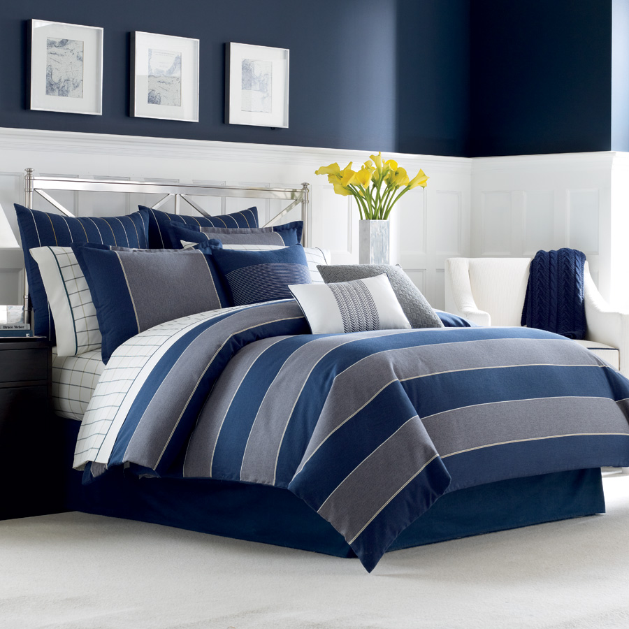 Navy Blue Comforter | Gray and White Bedding | Bedspreads and Comforters Amazon