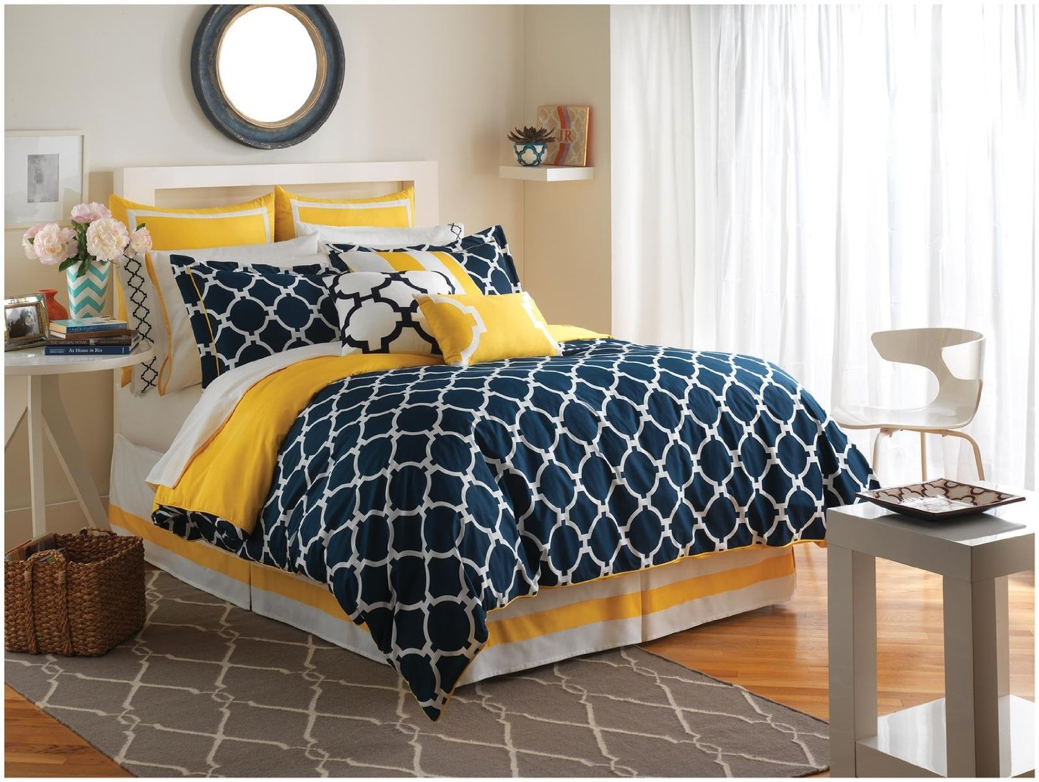 Bedroom Grey Bedspread Charcoal Grey Comforter Set Navy Blue - Blue and yellow comforter sets king