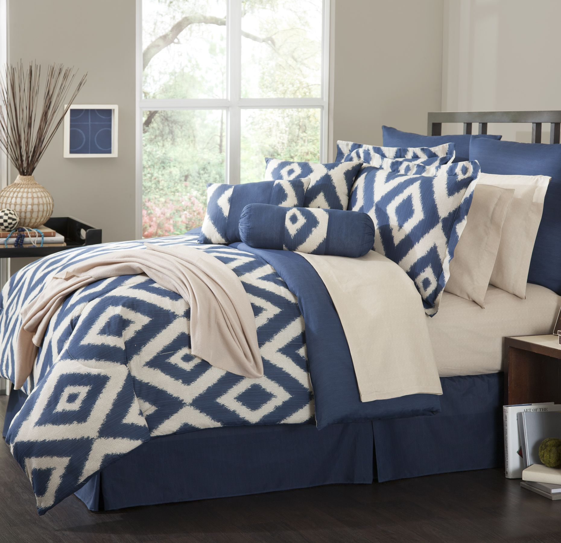 Navy Blue Comforter | Navy and Coral Bedding | Coral and Navy Bedding