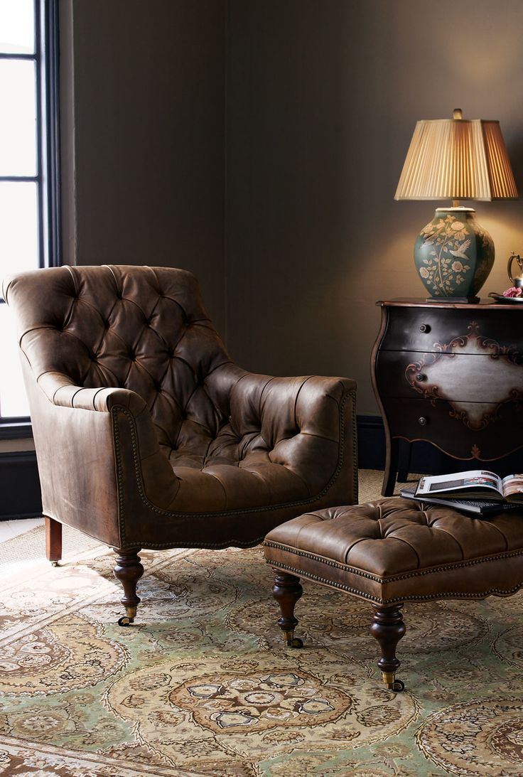 Navy Slipper Chair | Leather Chair and Ottoman | Oversized Chaise Lounge Indoor