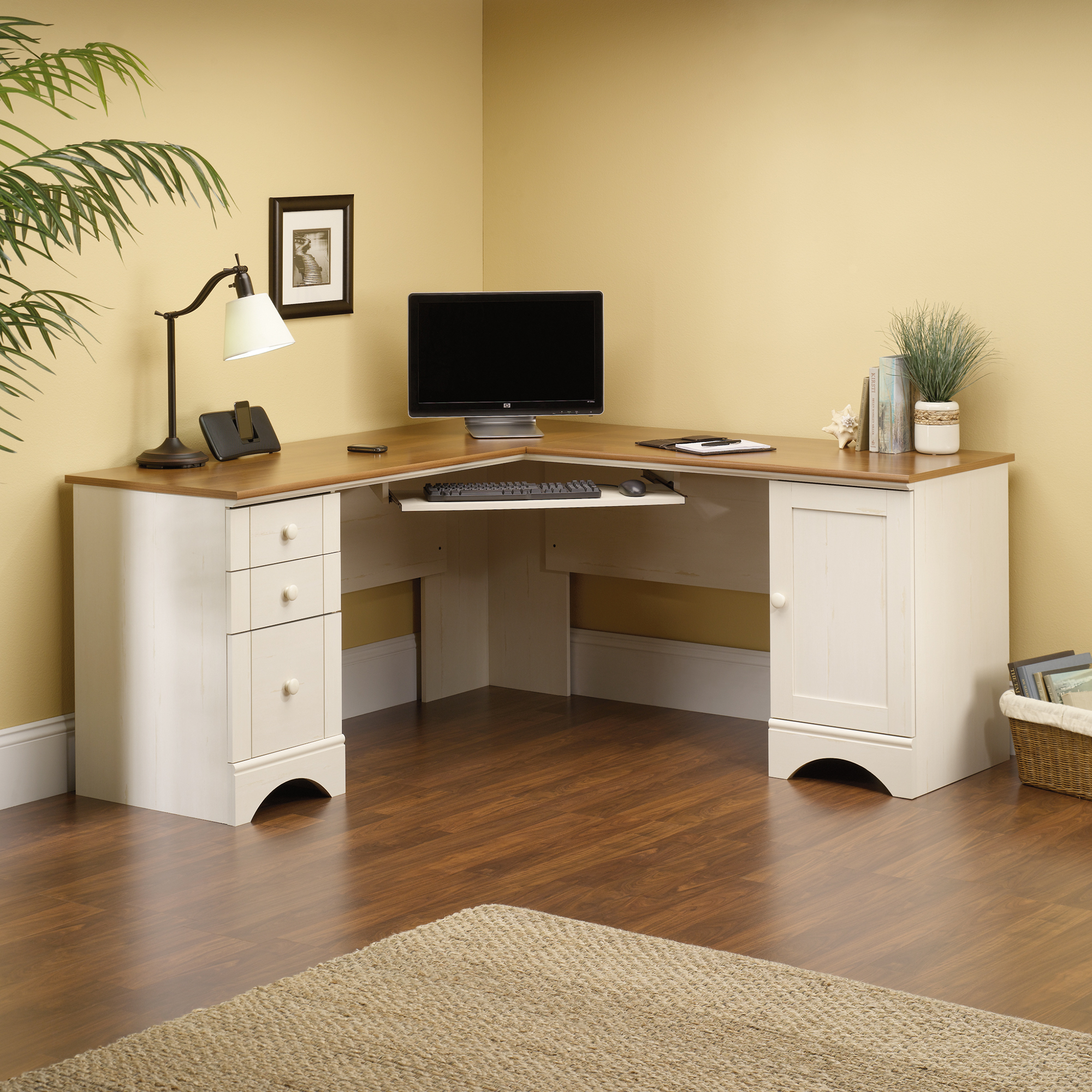 Oak Desk with Hutch | Sauder Computer Desks | Sauder Beginnings Corner Computer Desk Cinnamon Cherry