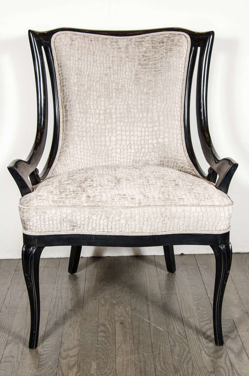 Occasional Chairs | Club Chair with Ottoman | Black Velvet Chair