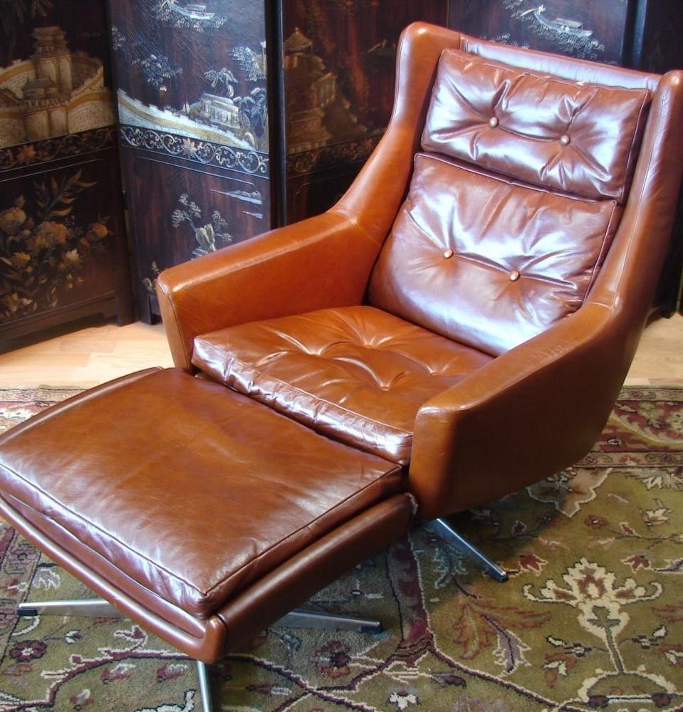 Furniture Alluring Leather Chair And Ottoman For Cozy