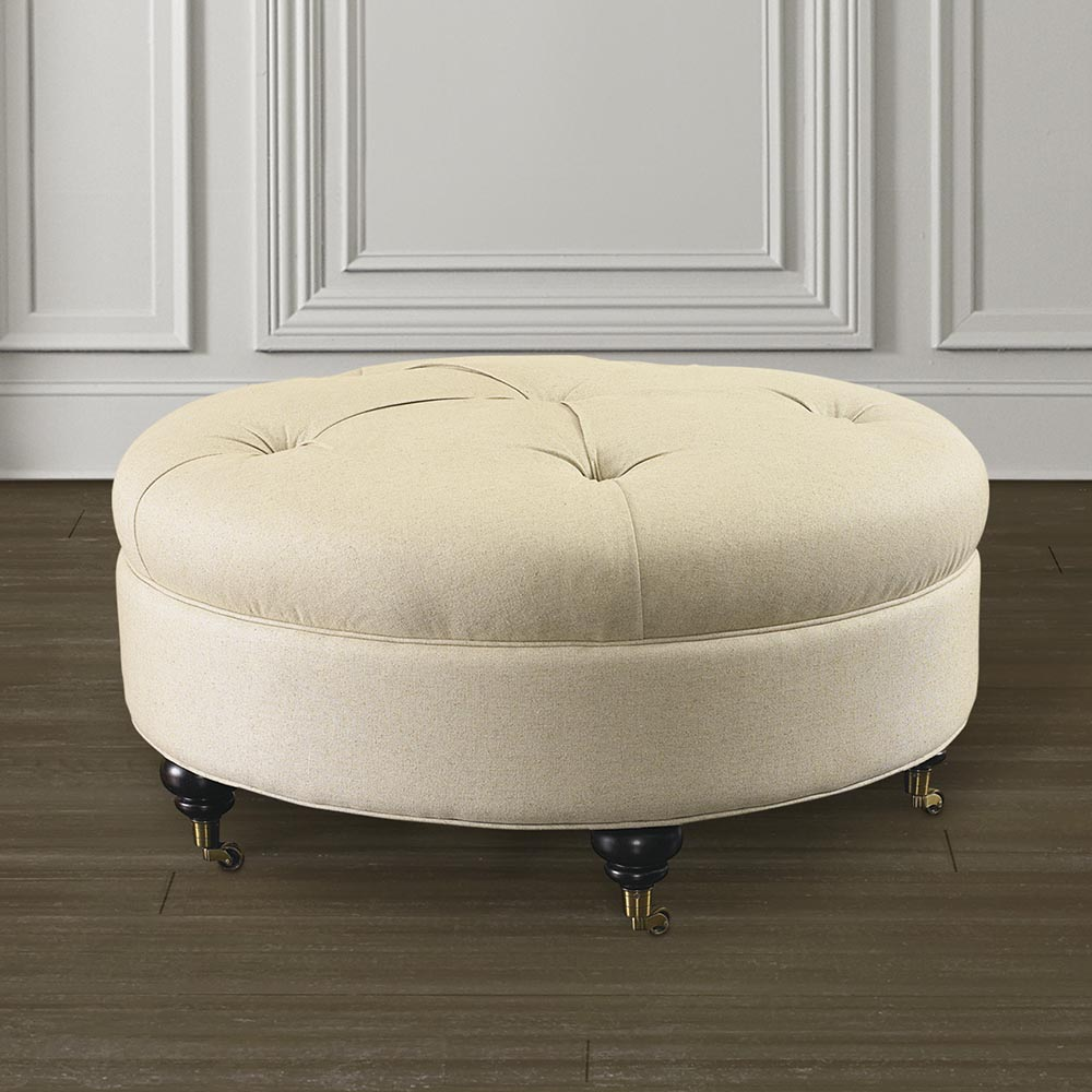 Padded Coffee Table | Coffee Table Ottoman | Round Storage Ottoman