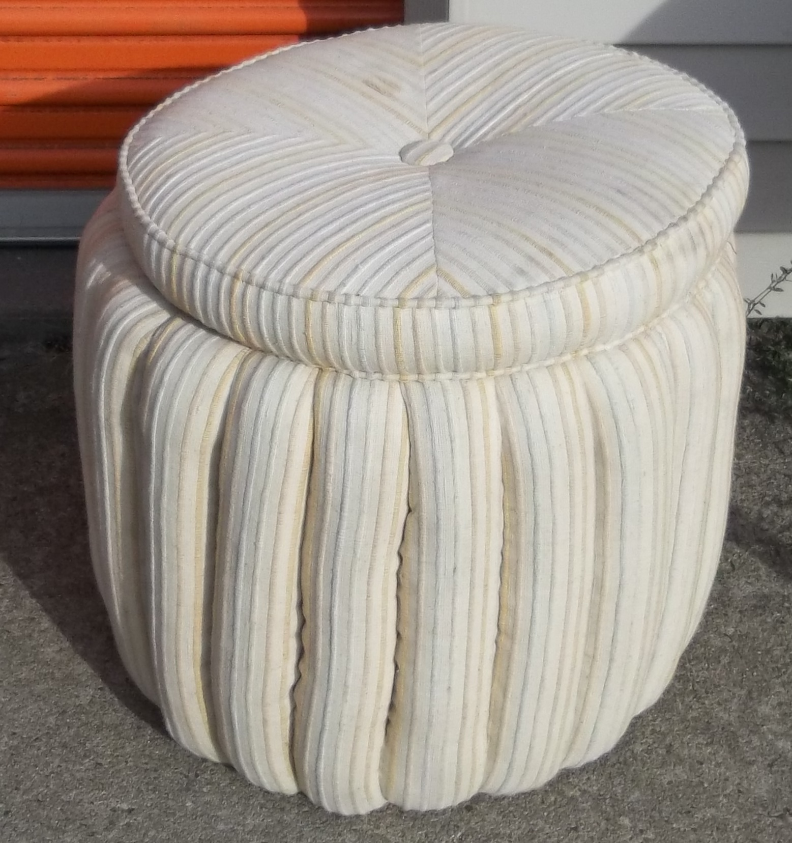 Padded Coffee Table | Round Storage Ottoman | Mustard Ottoman