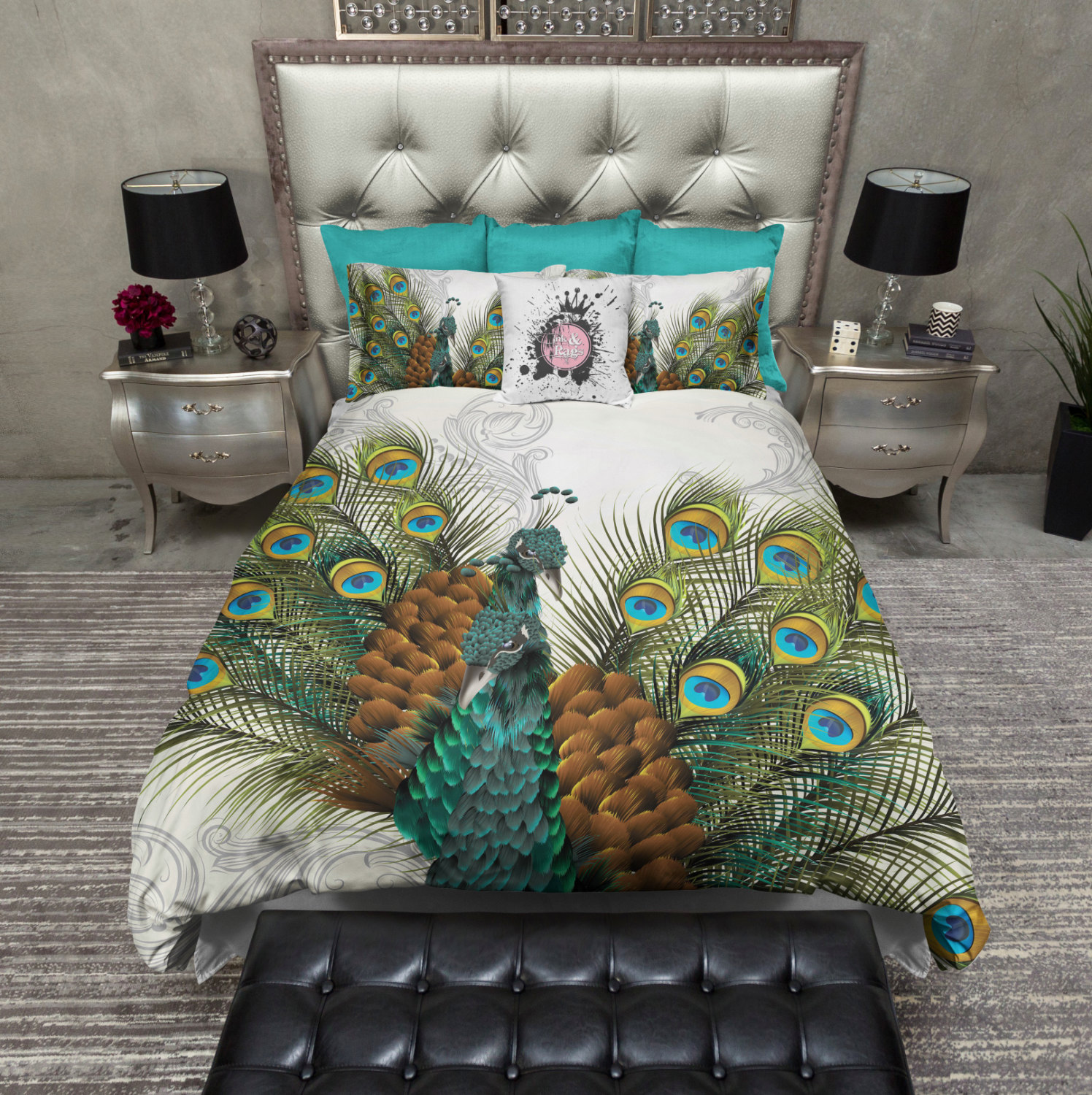Peacock Print Bedding | Peacock Pattern Bedding | Peacock Bedding