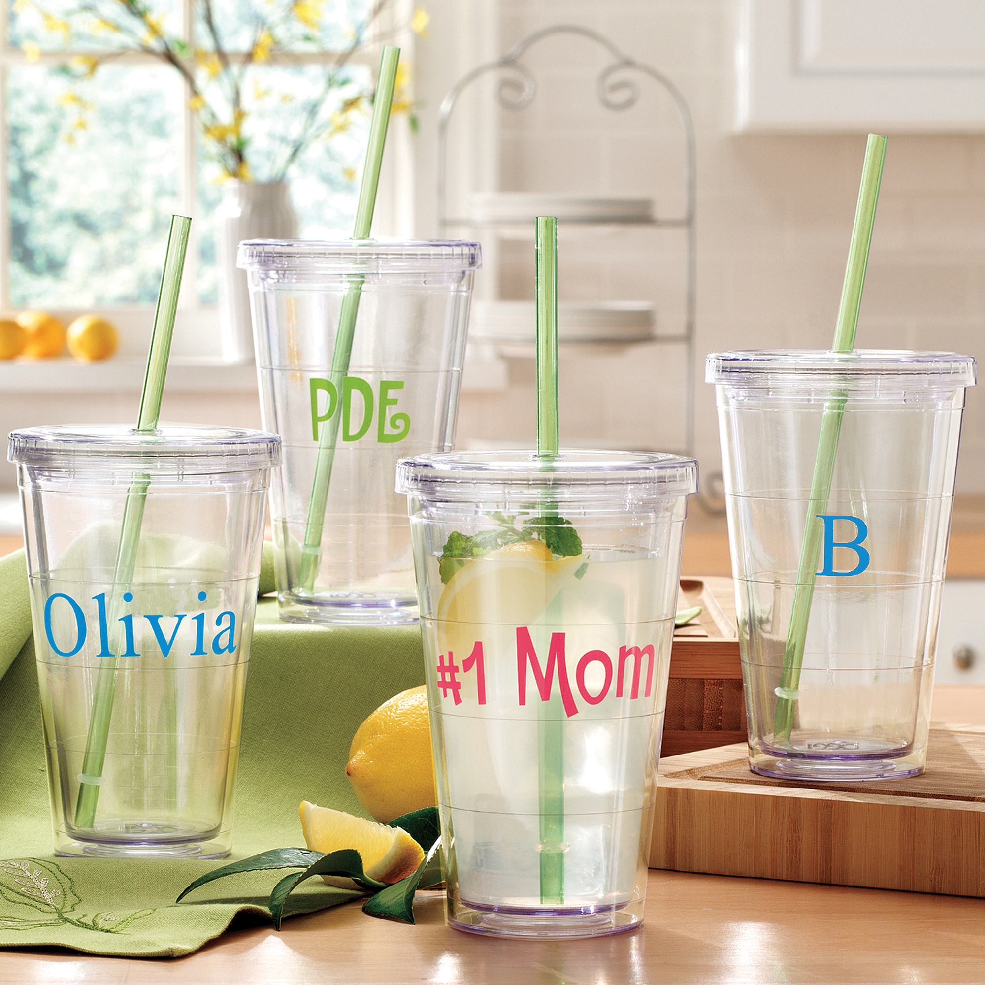 Personalized Plastic Cups | Custom Tumbler | Personalized Tumblers with Lid and Straw
