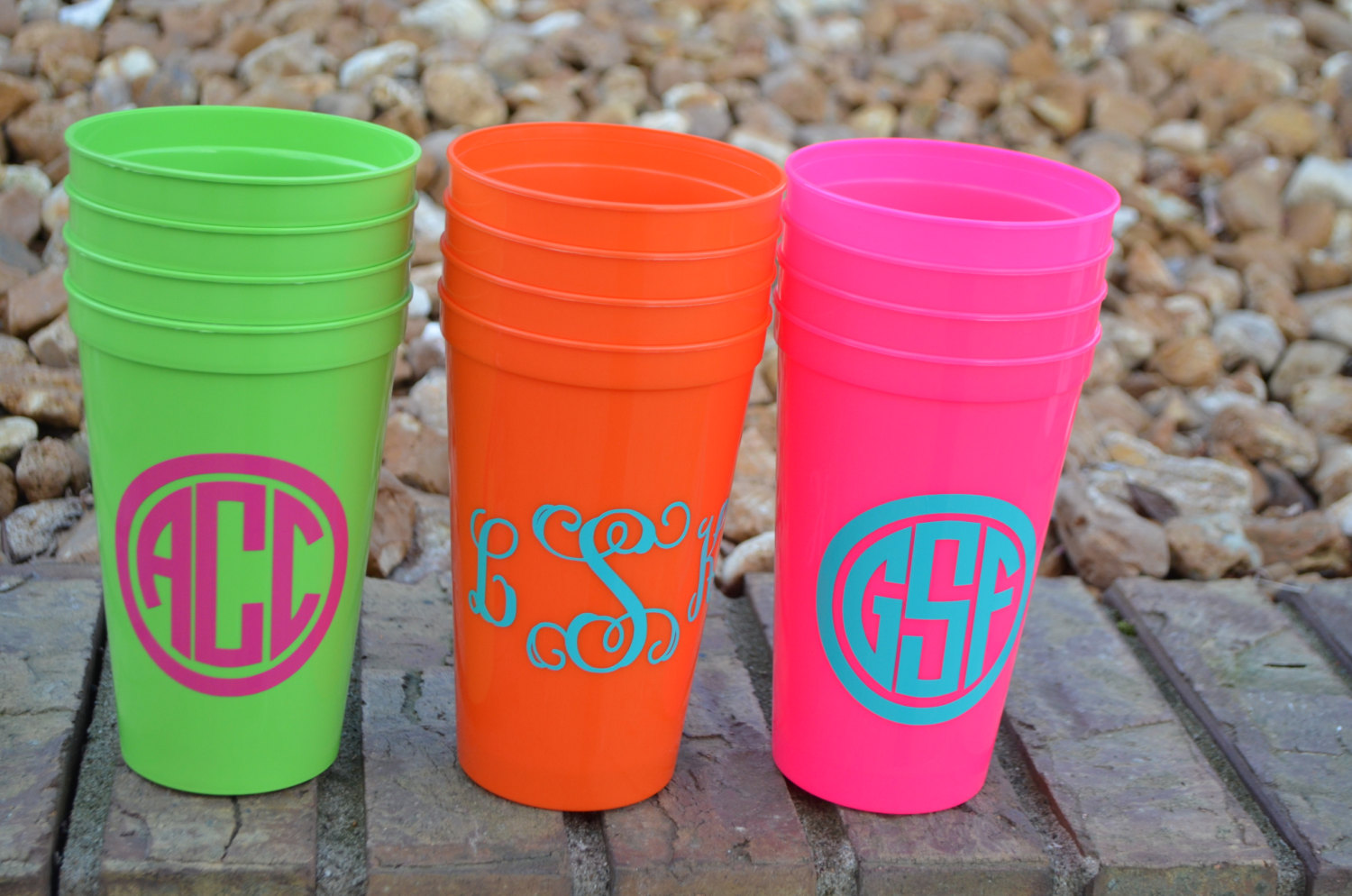 Plastic Punch Cups | Personalized Plastic Cups | Reusable Plastic Cups with Lids and Straws