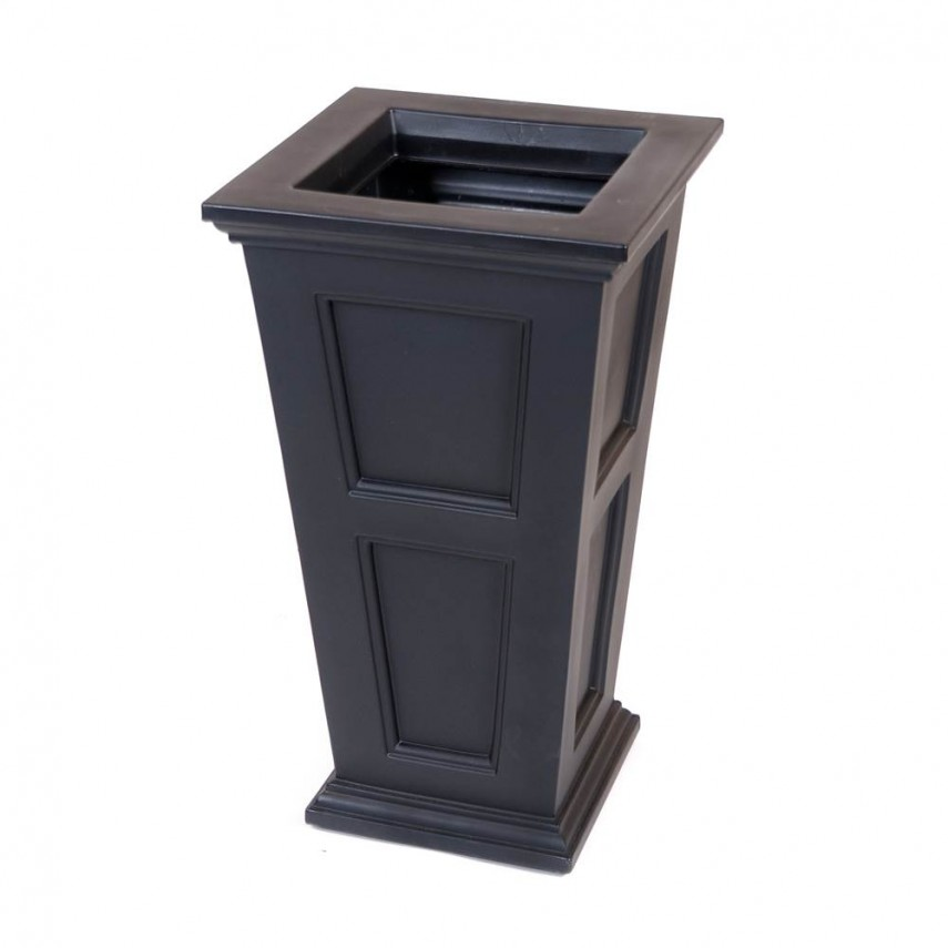Porch Planters | Tall Planters | Black Rectangular Planter