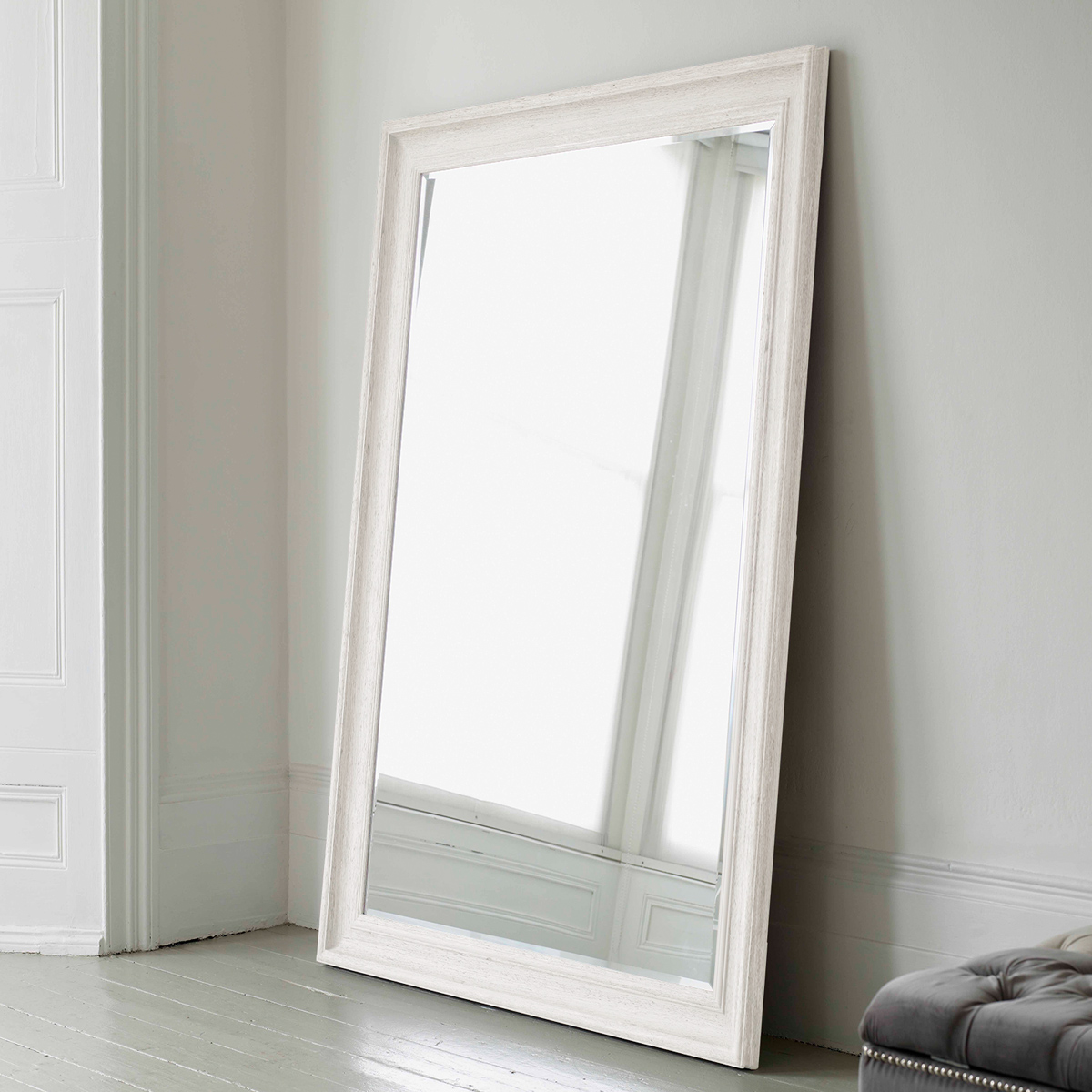 White decorative mirrors tall wall mirror white vanities for Floor wall mirror