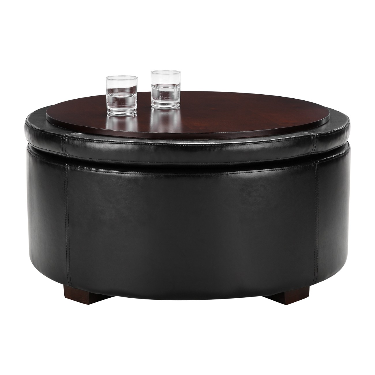 Round Coffee Table With Storage Singapore: Furniture: Amazing Round Storage Ottoman For Home