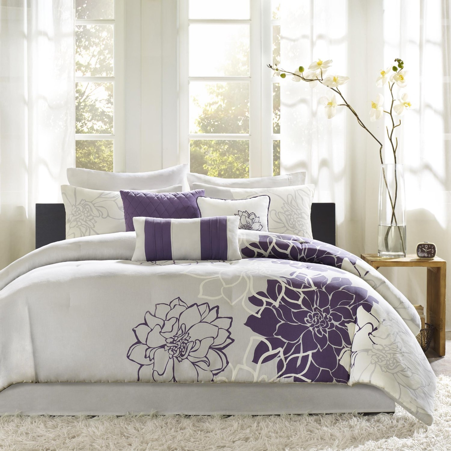 set bednlinens sets kitchen leaves fresca queen pin comforter com home amazon piece purple bedding