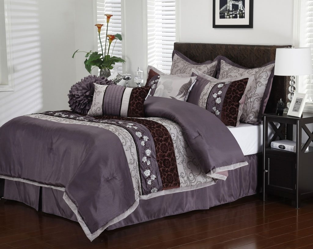 Purple Comforter Sets | Purple and Grey Comforter Set | Full Size Purple Comforter Sets