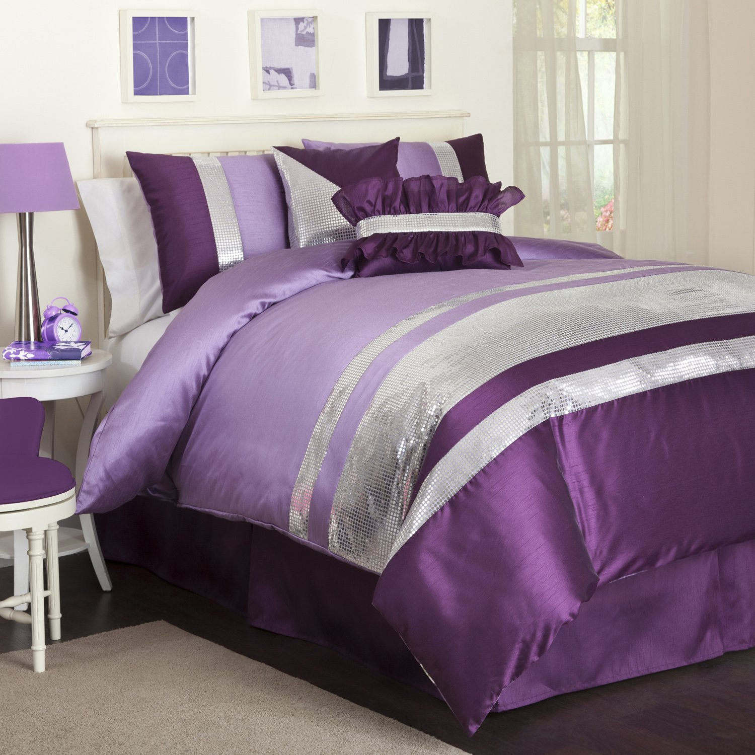 Purple Comforter Sets | Purple and Silver Comforter Sets | Dark Purple Comforter Set