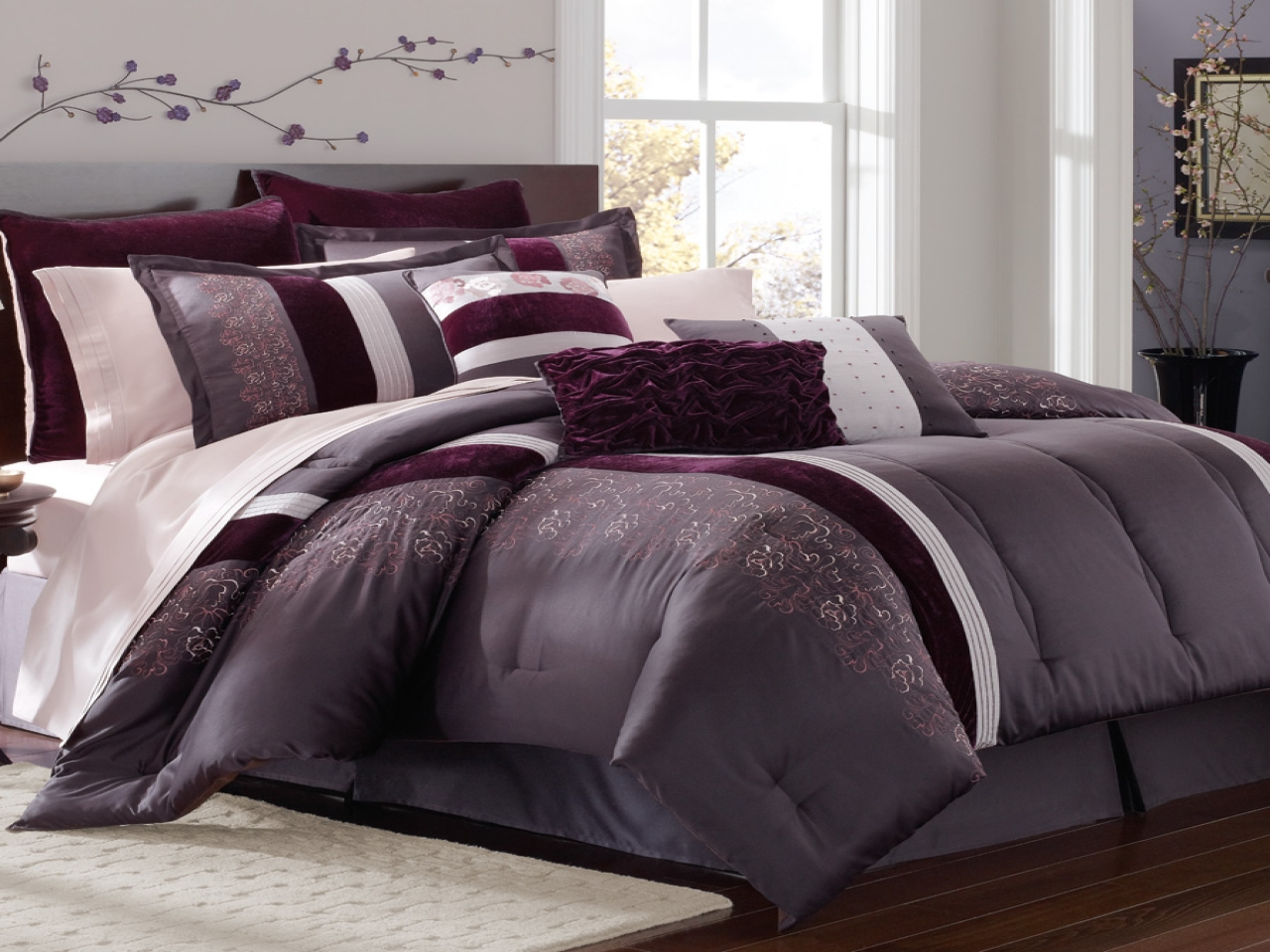 Purple Flower Comforter Set | Purple and Gold Comforter Set | Purple Comforter Sets