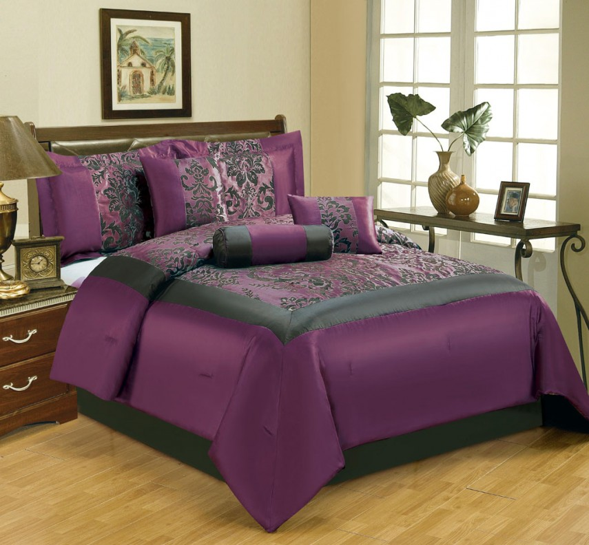 Purple Flower Comforter Set | Purple King Comforter Set | Purple Comforter Sets