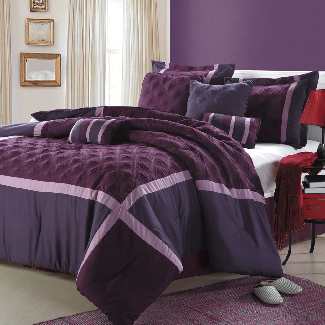 Purple Full Size Comforter Set | Comforter Sets Purple | Purple Comforter Sets