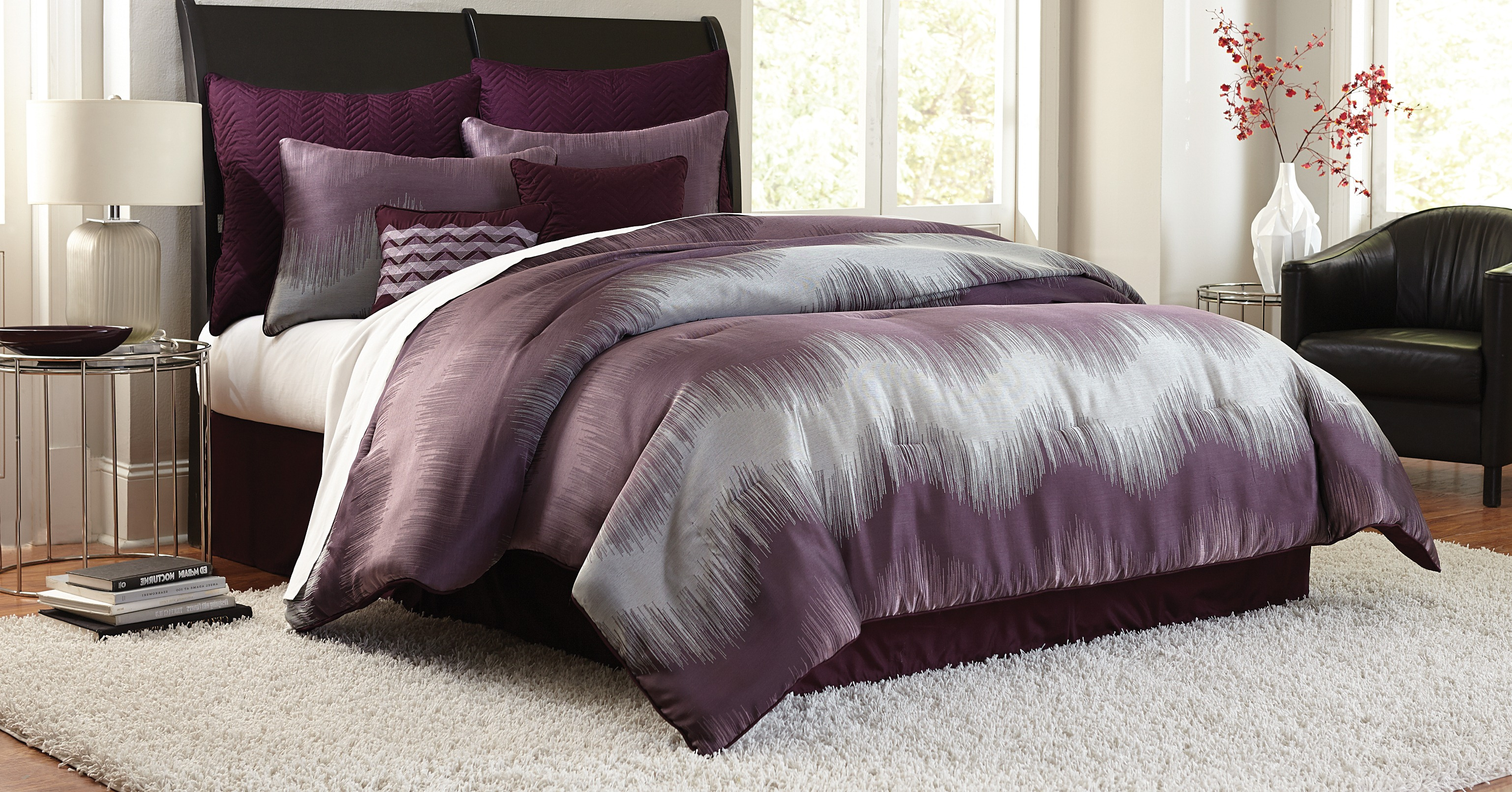 Purple Queen Comforter Set | Purple Comforter Sets | Purple and Grey Comforter Sets