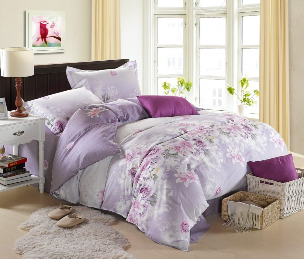 Purple Rose Comforter Set | Purple Comforter Sets | Purple Comforter Set King