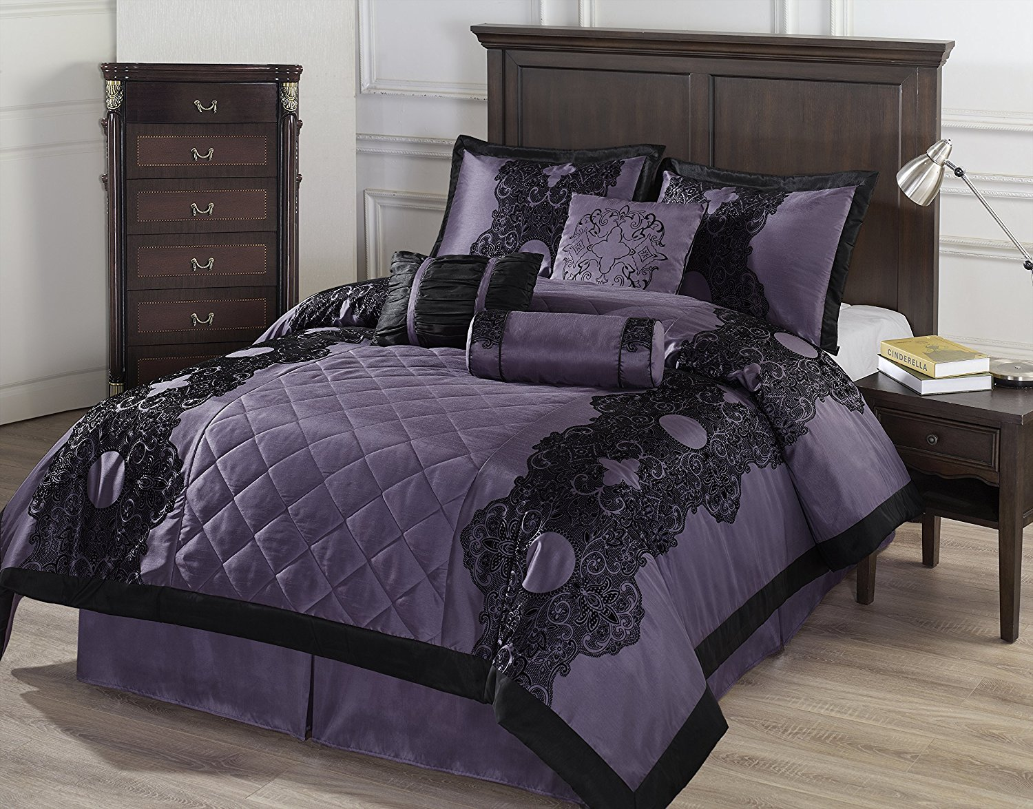Purple Velvet Comforter Sets Queen | Purple Full Size Comforter Set | Purple Comforter Sets