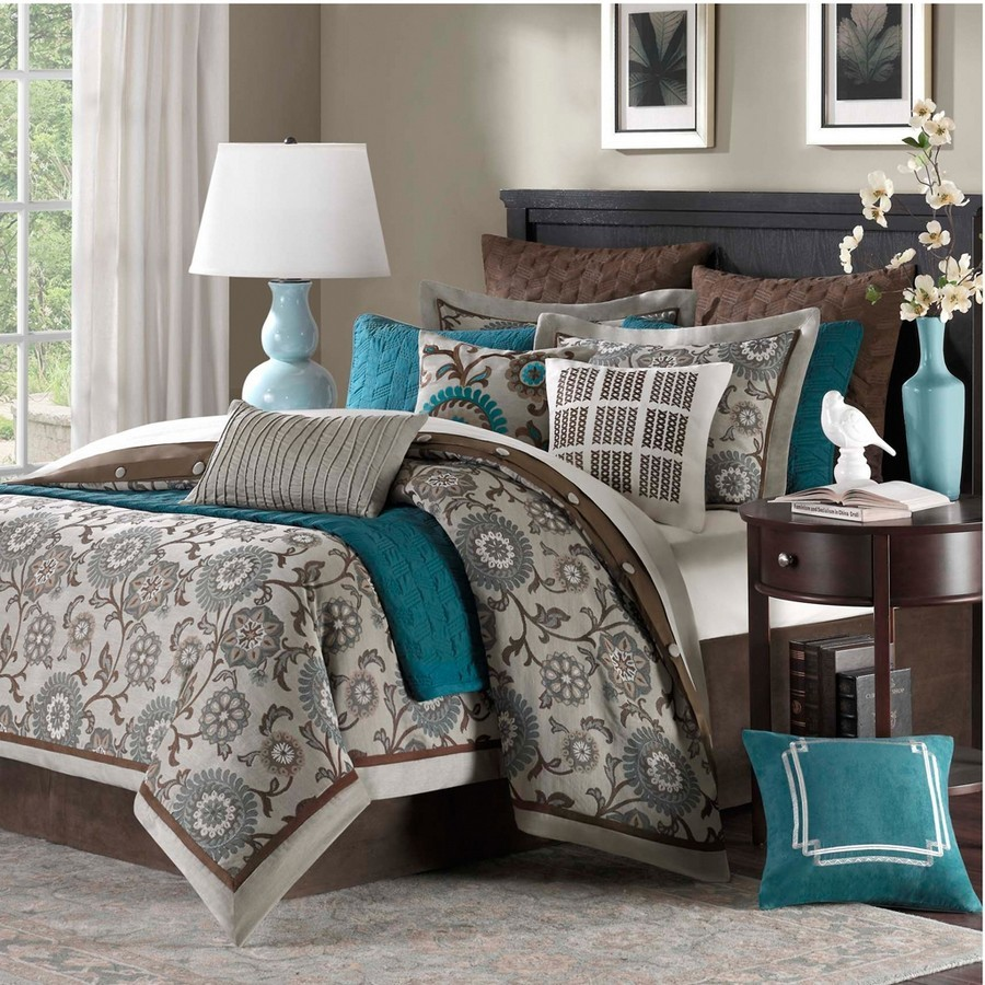bedding home bed queen full dp amazon set comforter teal mi com zone chloe size kitchen