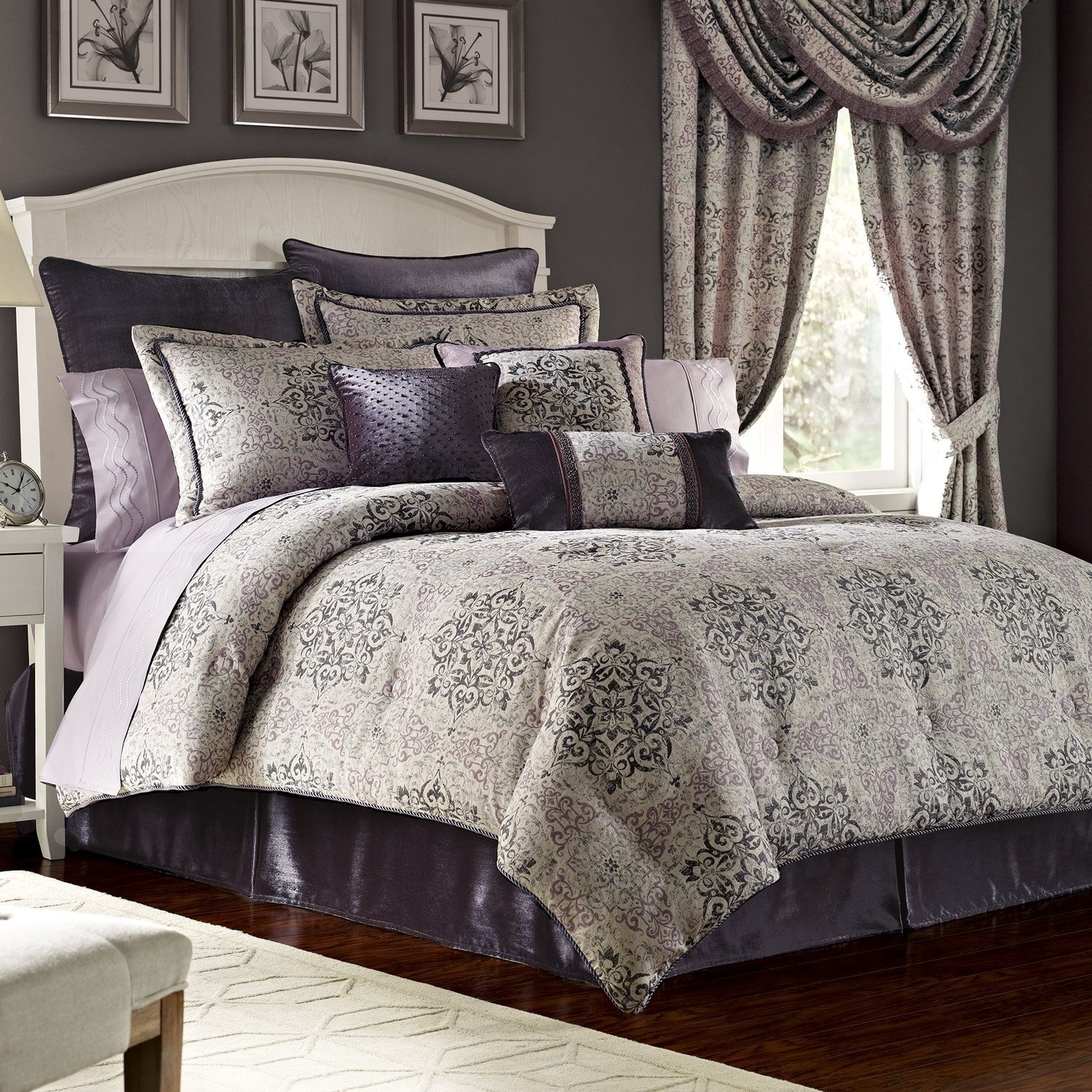 King Comforter Sets Gray Milena Gray 7 Pc Fullqueen Comforter Set 8 Piece King Dawson Black And