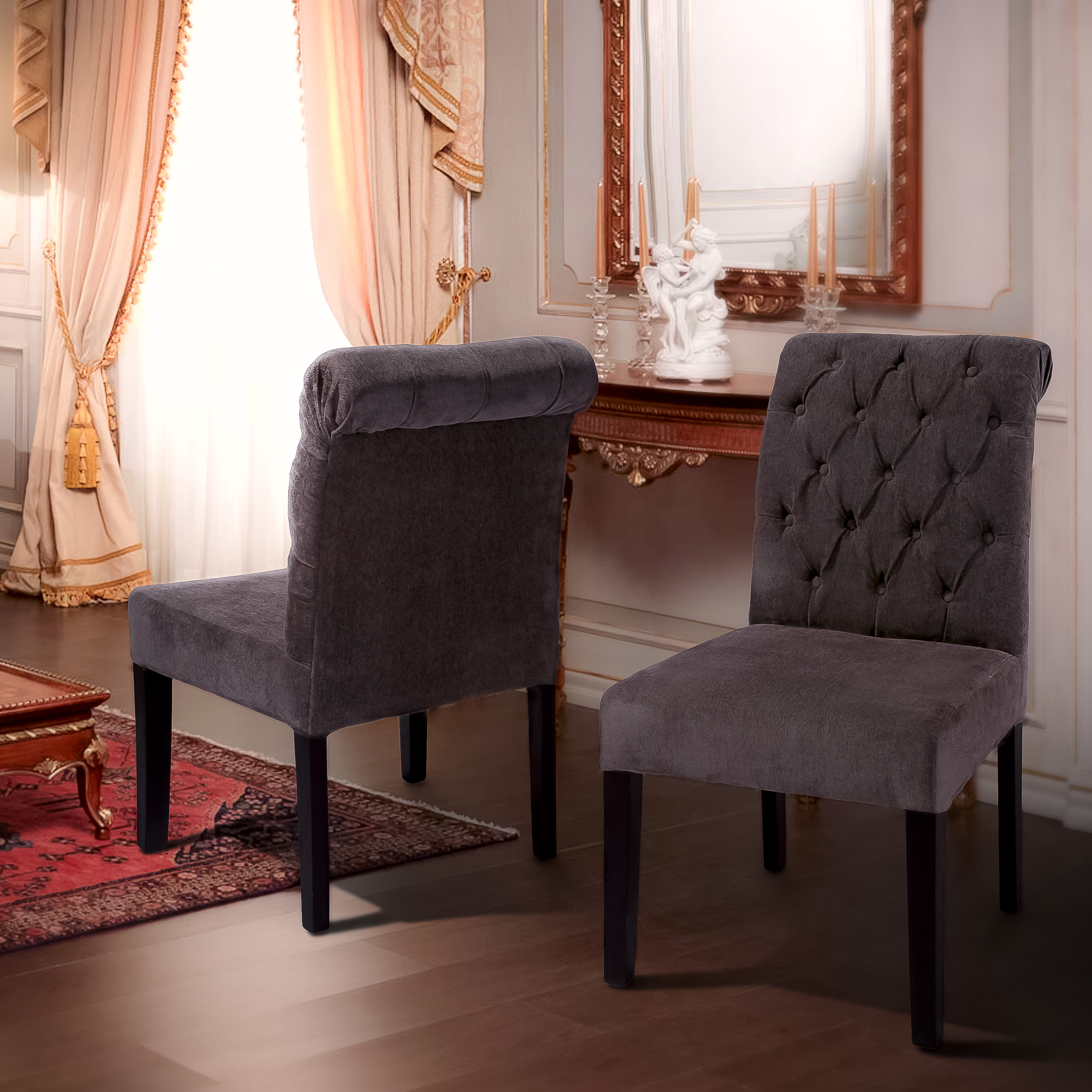 Home Chair: Dining Room: Enchanting Tufted Dining Chair For Home