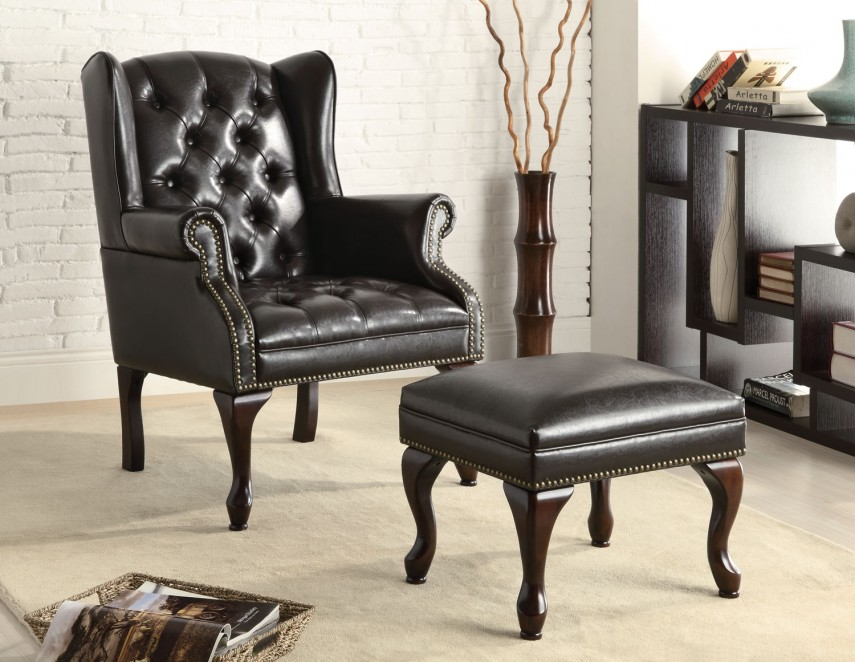 Reclining Wingback Chair | Pottery Barn Chairs | Leather Chair And Ottoman