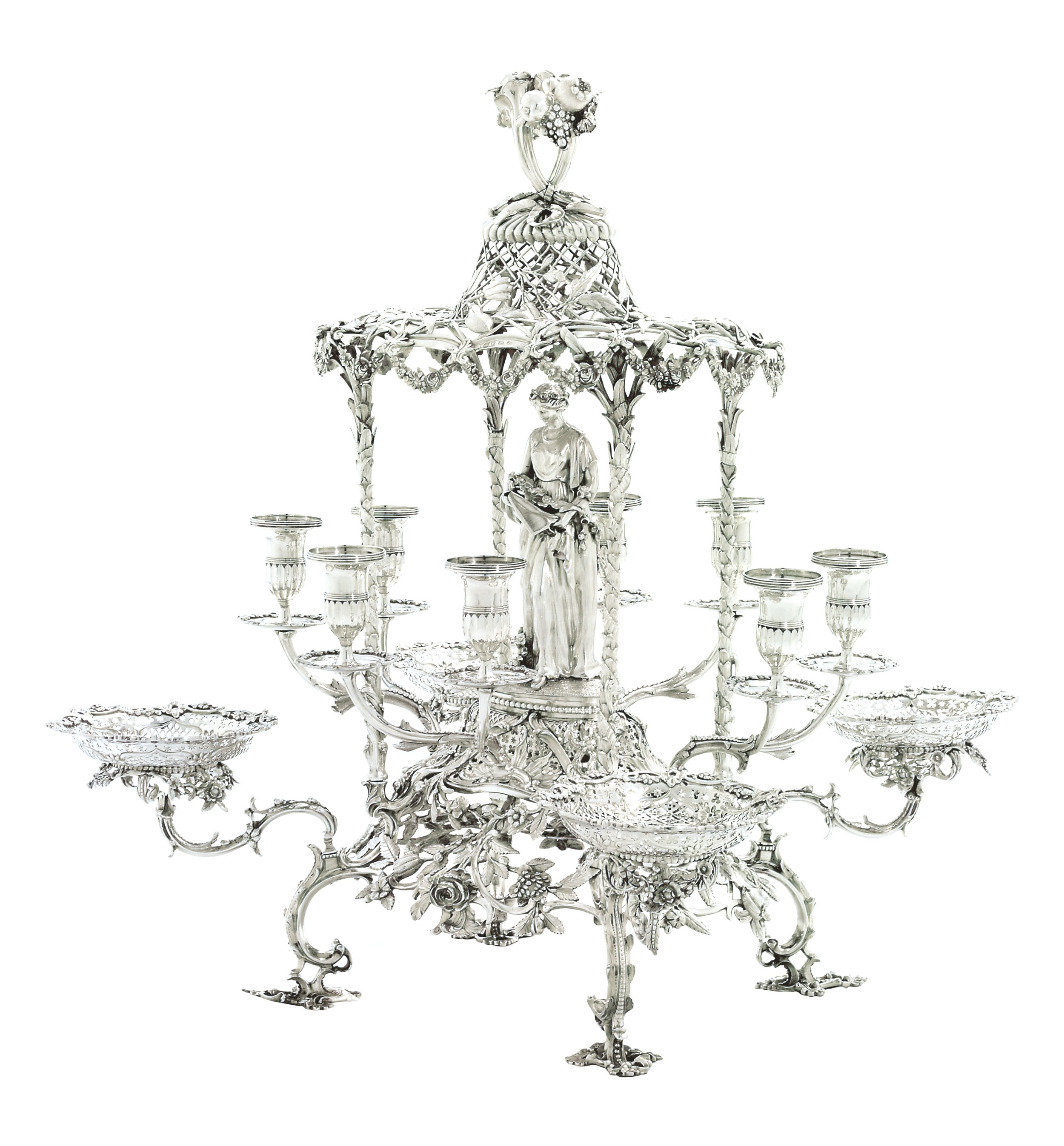 Using Antique Epergne for Dining Table Accessories Ideas: Redoubtable Mirrored Esperne | Gorgeous Epergne