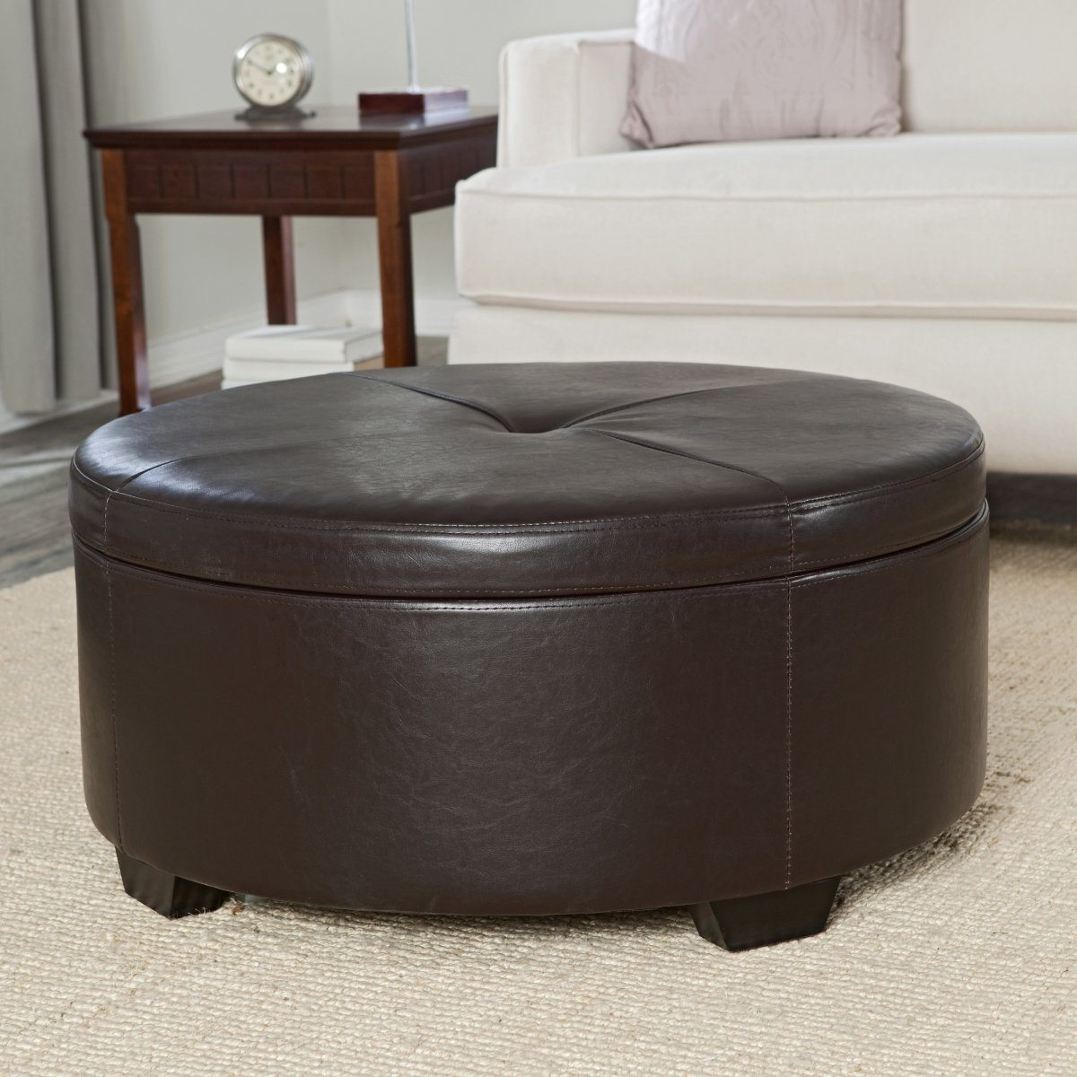 Furniture Amazing Round Storage Ottoman For Home