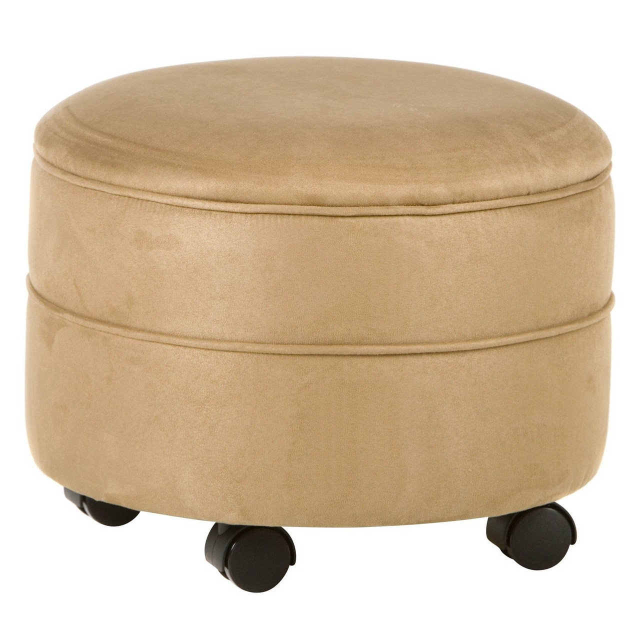 Round Leather Storage Ottoman Coffee Table | Ottoman with Shelf Underneath | Round Storage Ottoman