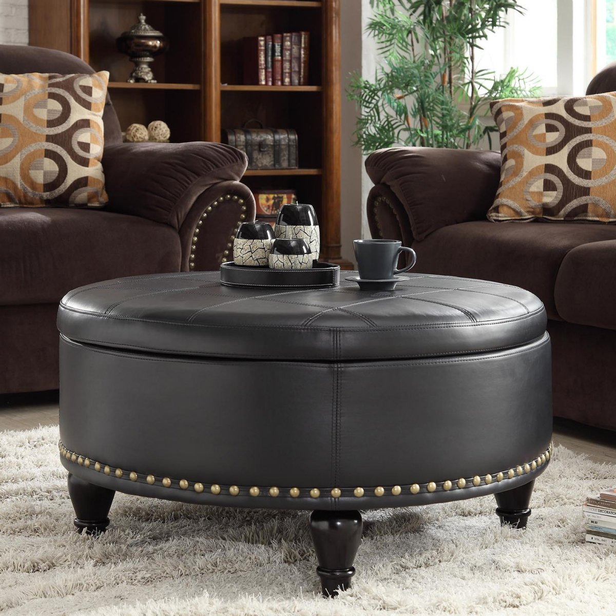 Round Leather Storage Ottoman Coffee Table | Round Storage Ottoman | Large Square Ottoman