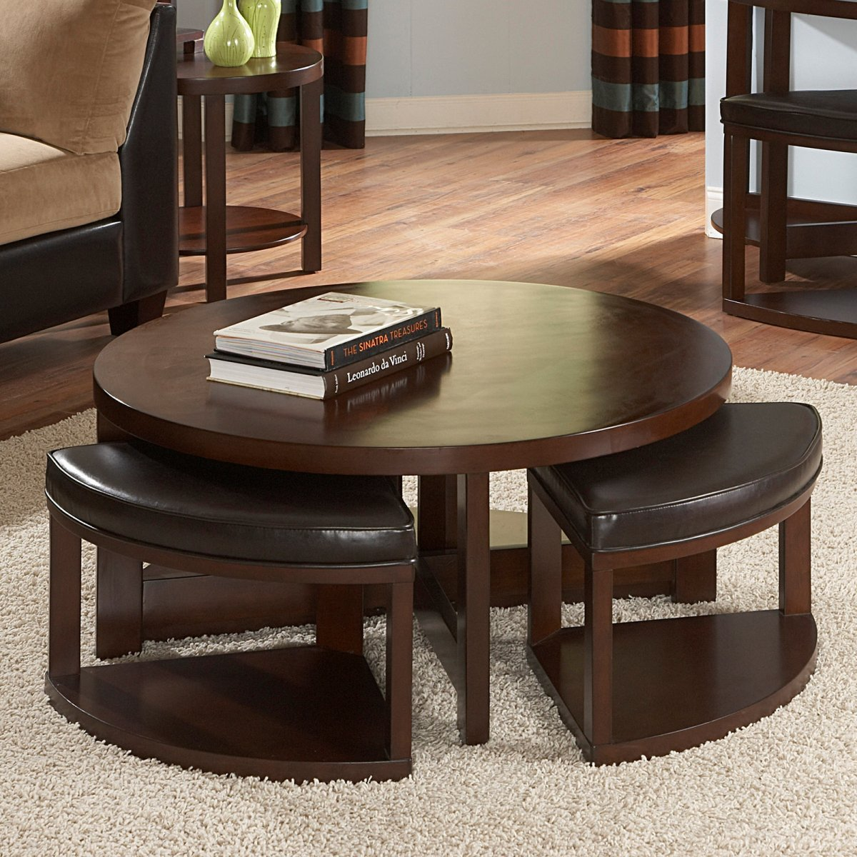 Round Storage Ottoman | Coffee Table with Ottomans | Wayfair Storage