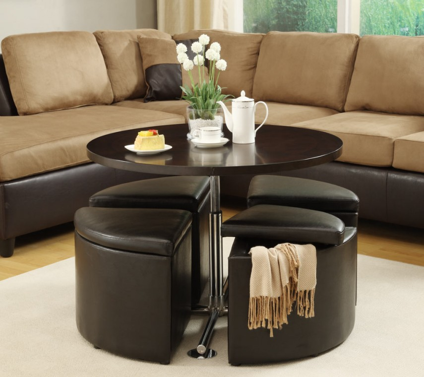 Round Storage Ottoman | Leather Ottoman With Storage | Round Leather Ottoman