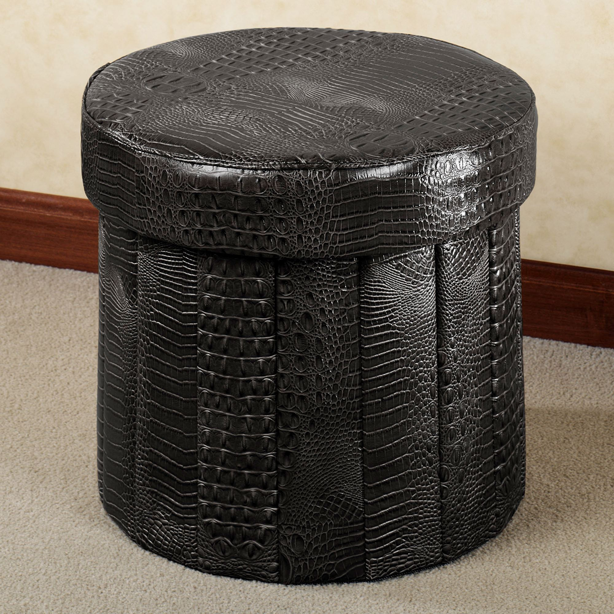Round Storage Ottoman | Navy Ottoman | How to Make A Round Ottoman with Storage