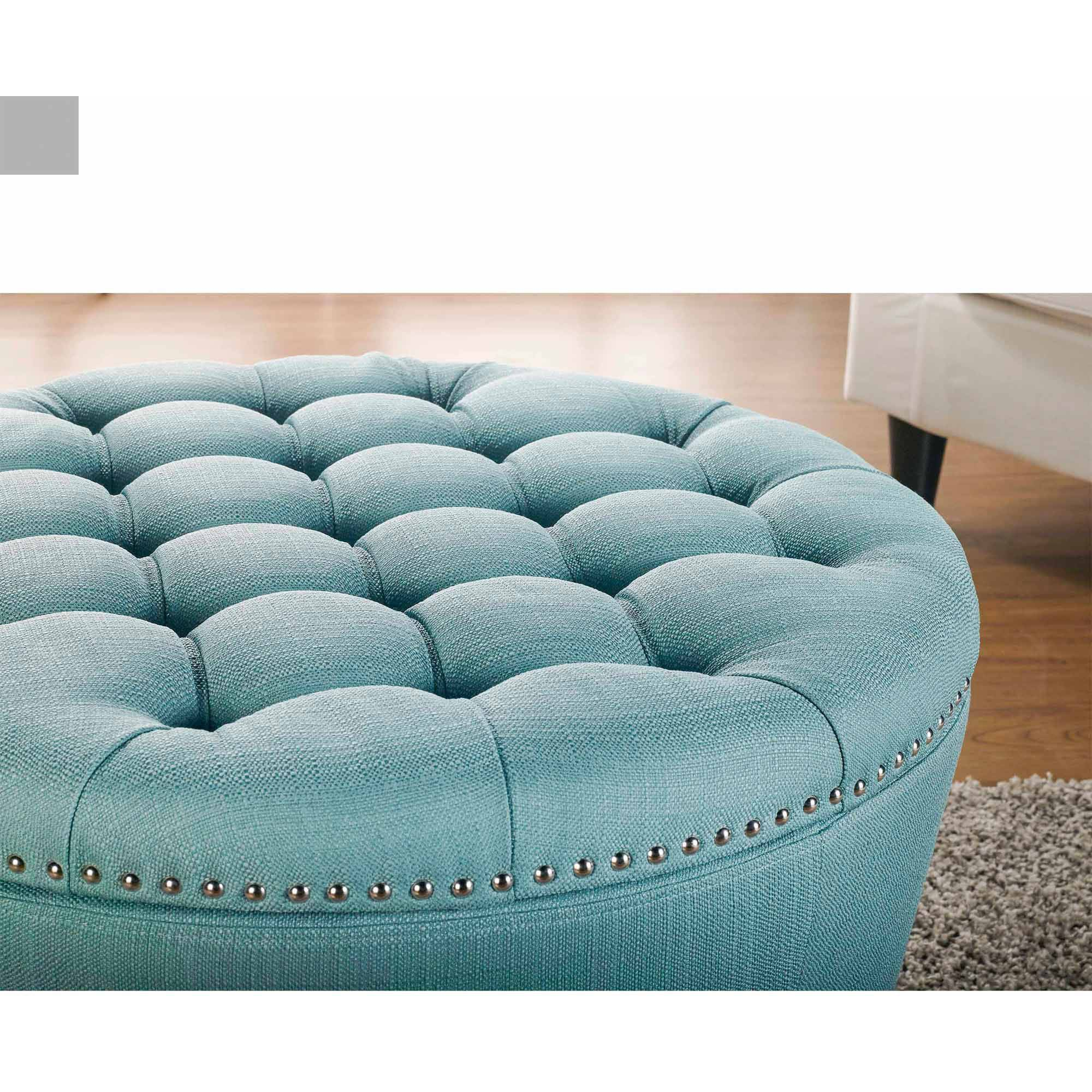 Furniture Round Tufted Ottoman With StorageRound Storage