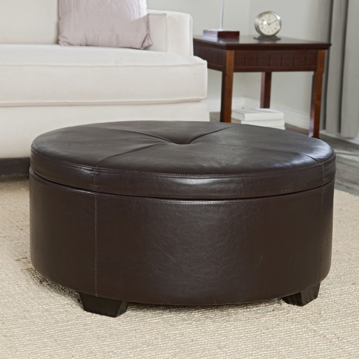 Round Storage Ottoman | Tufted Leather Ottoman | Cocktail Ottoman with Shelf