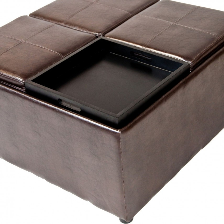 Round Storage Ottoman | Tufted Leather Ottoman | Cushion Ottoman Coffee Table