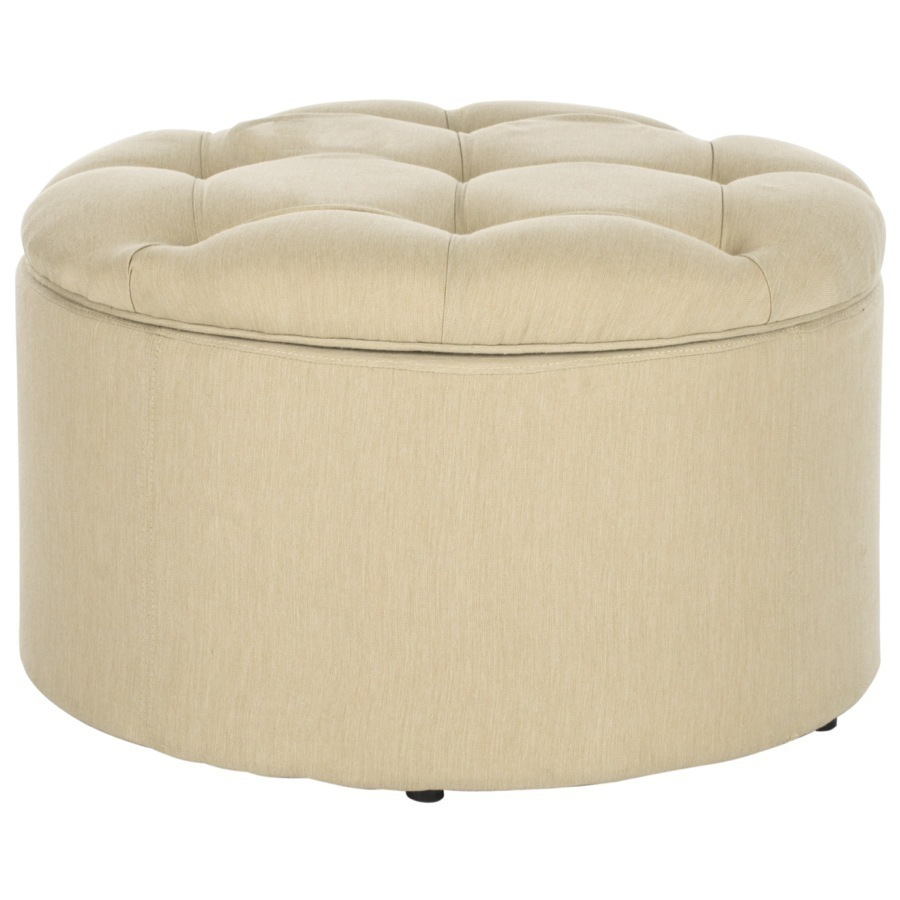 Round Tufted Storage Ottoman Coffee Table | Square Leather Ottoman | Round Storage Ottoman