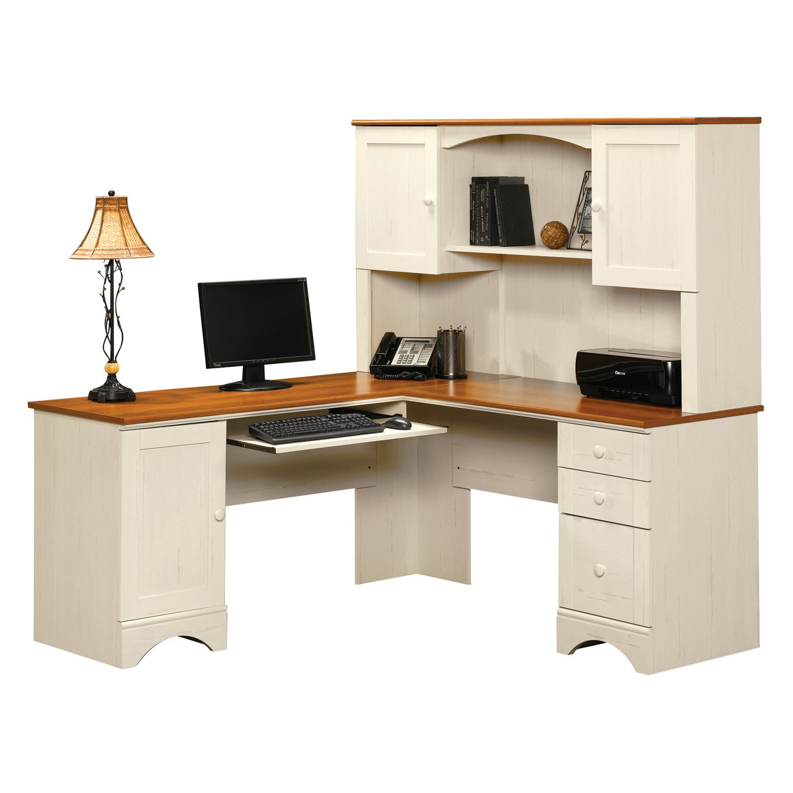 Sauder Beginnings Corner Computer Desk | Small Corner Desk with Hutch | Sauder Computer Desks