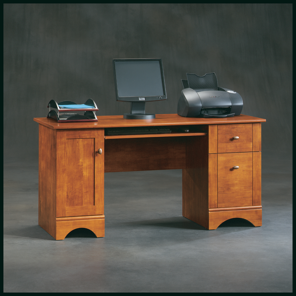 Sauder Computer Desks | Black Corner Desk with Hutch | Sauder Harbor View Computer Desk with Hutch Antiqued White